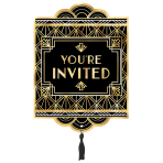 8 Invitations & Envelopes & Tassel Glitz & Glam Paper / Fabric 14.4 x 19.8 cm