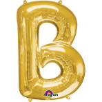 SuperShape Letter B Gold Foil Balloon L34 Packaged 58cm x 86cm