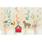 12 Swirl Decorations Barnyard Birthday Foil / Paper 61 cm
