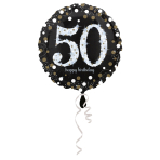 Standard Sparkling Birthday 50 Foil Balloon Round S55 Packaged 43 cm
