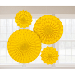 4 Fan Decorations Glitter Sunshine Yellow Paper 20.3 cm / 30.4 cm / 40.6 cm
