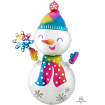 MultiBalloon Satin Infused Snowman Foil Balloon P70 Packaged 78cm x 139cm
