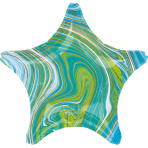Standard Marblez Blue Green Star Foil Balloon S18 Packaged