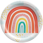 8 Plates Retro Rainbow Round Paper 22.8 cm