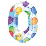 SuperShape Number 0 Balloons & Streamers Foil Balloon L34 Packaged 66cm x 88cm