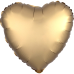 "Standard ""Satin Luxe Gold Sateen"" Foil Balloon Heart, S15, packed, 43cm"