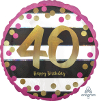 """Standard """"Pink & Gold Milestone 40"""" Foil Balloon Round Holographic, S55, packed, 43cm"""