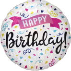 Standard Holographic Happy Birthday Sparkle Banner Foil Balloon S55 Packaged