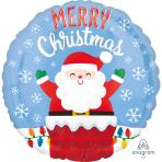 "Standard ""Santa in Chimney"" Foil Balloon S40 packed"