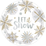 8 Plates Shining Snow Round   Metallic Paper 26,7 cm