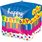 Cubez Birthday Cake Foil Balloon G20 Packaged 38 x 38 cm