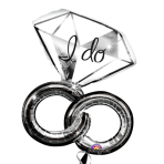 """SuperShape """"Wedding Rings"""" Foil Balloon, P45, packaged, 69 x 76 cm"""