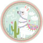 8 Plates Llama Paper Round 22.8 cm