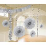 Decoration Kit Silver Paper / Foil 18 Parts 274 cm / 213 cm / 20.3 - 55.8 cm