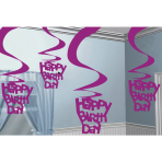 5 Swirl Decorations Pink Shimmer Happy Birthday 61 cm