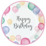 8 Plates Happy Birthday Pastel Paper Round 22.8 cm