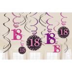 12 Swirl Decorations 18 Sparkling Celebration - Pink Foil / Paper 61 cm