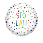 Standard EU Confetti Birthday Sto Lat Foil Balloon Circle S40 Packaged