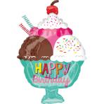 """Junior Shape """"Ice Cream Sundae HBD"""" Foil Balloon , S50, packed, 38 x 58cm"""
