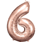 Large Number 6 Rose Gold Foil Balloon N34 Packaged 55 cm x 88 cm