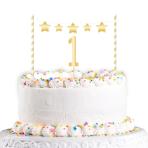 Cake Decoration Kit 1st Birthday Gold Height 19 cm