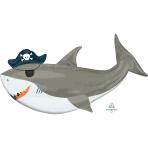 "SuperShape XL Ahoy Birthday Shark Foil Balloon P35 Packaged 41""/104cm w x 23""/58cm h"
