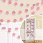 6 String Decorations Glitter Light Pink 213 cm