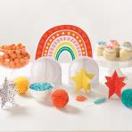 Table Decoration Kit Retro Rainbow Paper 7 Parts 33 cm / 12.7 cm / 12.7 cm