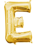 MiniShape Letter E Gold Foil Balloon L16 Packaged 20cm x 33c