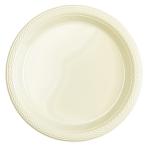 20 Plates Vanilla Creme Plastic Round 17.7 cm