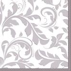 16 Napkins Ornamental Silver 33 x 33 cm