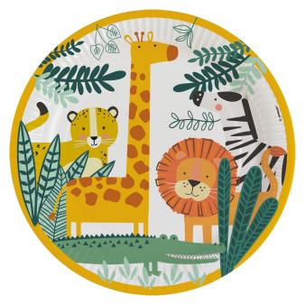 8 Plates Get Wild Round Paper 22.8 cm