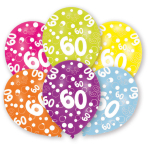 6 Latex Balloons All Round Printed Age 60 27.5 cm/11''