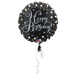 Standard Sparkling Birthday Foil Balloon Round S55 Packaged 43cm