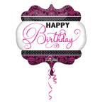 SuperShape Pink, Black, White Birthday Foil Balloon P35 Packaged 63 x 55 cm