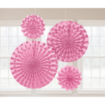 4 Fan Decorations Glitter Light Pink 20.3/30.4/40.6 cm