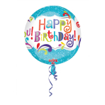 Orbz Happy Birthday Splashy Sparkle Foil Balloon G20 Packaged 38 x 40 cm