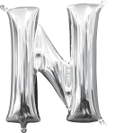 MiniShape Letter N Silver Foil Balloon L16 Packaged