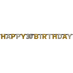 Letter Banner 30 Sparkling Celebration - Silver & Gold Prismatic