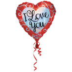 "Standard ""Sparkle Heart Love You"" Foil Balloon Heart, S55, packed, 43cm"
