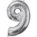 Mid Size Number 9 Silver Foil Balloon L26 Packaged 43cm x 66cm