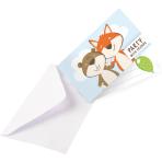 8 Invitations & Envelopes Fox & Beaver Paper 8 x 14 cm