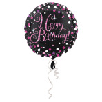 """Standard """"Pink Celebration - HBD"""" Foil Balloon, round, S55, packed, 43 cm"""