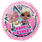 Standard LOL Glam Birthday Foil Balloon Round S60 Packaged 43 cm