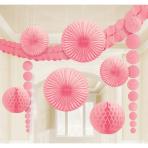 Decoration Kit Damask Pretty Pink Paper 9 Pieces 360 cm / 90 cm / 20.3 - 30.4 cm