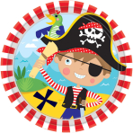 8 Plates Little Pirate 17.7 cm