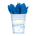 8 Cups Christening Blue Paper 266 ml