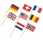 30 Picks Flags Wood 6.5 cm