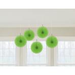 5 Fan Decorations Kiwi Green Paper 15.2 cm