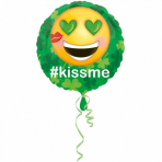 """Standard """"St.Pat's Kiss Me Emoticon"""" Foil Balloon Round, S40, packed, 43 cm"""